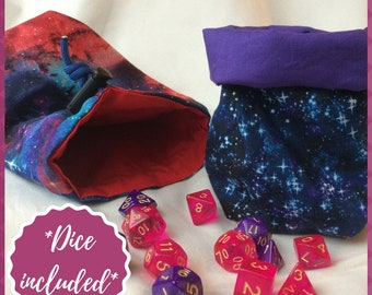 Dice Bag- Space Dice Bag  - Standing Dice bag - Bag of Holding - Galaxy Dice Bag