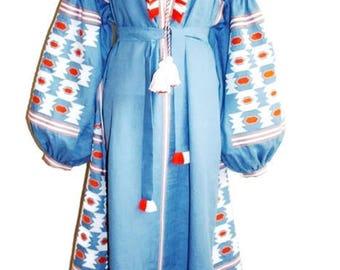 Boho Dresses Vyshyvanka Dress Ethnic Ukrainian Embroidery Custom Bohemian Clothing Caftan Dress Kaftan Abaya Long Vishivanka