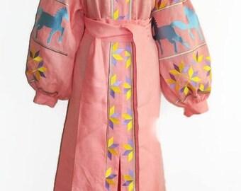 Boho Ukrainian Vyshyvanka Dress Bohemian Clothes Kaftan Dress Vishivanka Abaya Dresses Ukrainian Embroidery Open in front Ethnic Dress