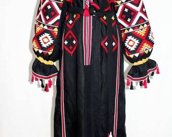 Vyshyvanka Dress Ukrainian Embroidery Black Linen Maxi Boho Dress Embroidered Dresses Kaftan Abaya Bohemian Clothes Ethnic Ukraine Bohochic