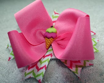 Hair Bow, Pink with Ice Cream button, Infant Toddler Girls Hair Bow