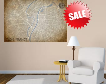 LYON FRANCE CITY Map canvas Poster Print Street map Wall art home decor large wall tapestry large rustic vintage map map wall decoration art