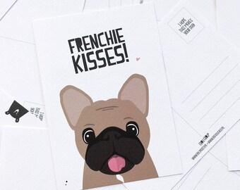 Postcard ' Frenchy kisses ' A6-French-Bulldog-French Bulldog-Fawn Bull-Bullet