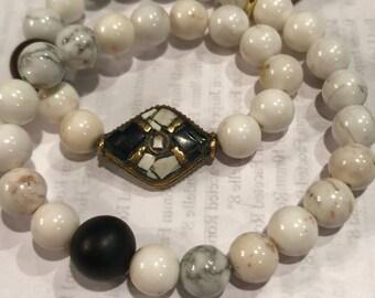 Double wrap Howlite and Onyx bracelet