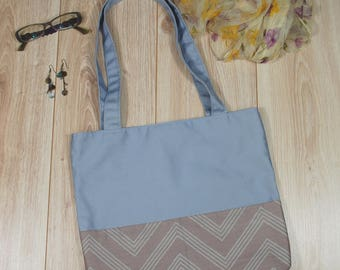 Shoulder Bag with Two Outer Pockets, OOAK Workout Bag with Zigzag Fabric applique, Canvas Tote, Chevron Pattern, Functional Bag, Market Bag