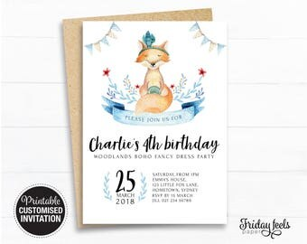 Fox Boho Birthday Invitation, Woodlands baby fox printable invite, Girls boys birthday party personalised Digital Download