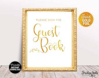 Guest Book Wedding Sign, Printable Wedding Poster, Gold Wedding Sign, Instant Download, WS02