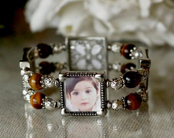 Picture Charm Bracelet, Photo Bracelet, Photo Bracelets, Picture Bracelet, Custom Photo Bracelet, Gift for Mom, Bracelet for Mom, Photo Gift