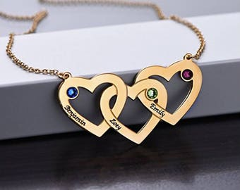 Intertwined Hearts Necklace in 925 Sterling Silver with Swarovski Birthstones | Jewelry for Moms