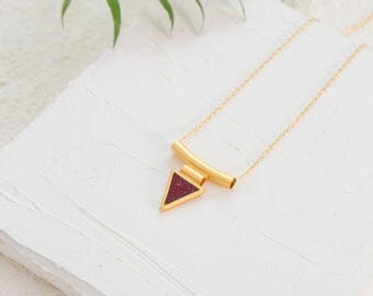 Triangle Pendant Necklace, Geometric Pendant Necklace, Long GoldNecklace, Modern Necklace, Necklaces For Women, Casual Necklace, Mom Gift