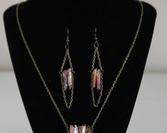 Titanium coated necklace and earrings set