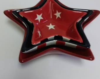 Star shaped bowls,Red,White and Blue