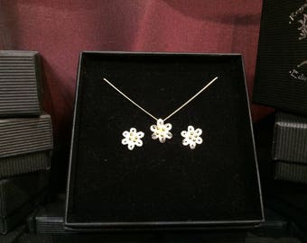 Six petal stud earring and pendant set gold and Stirling silver