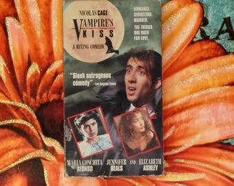 Vampire's Kiss VHS Tape, Cult Classic 90s Nicolas Cage Comedy Vhs Movie, Vampire Comedy 90s Classic, Young Nicolas Cage (1988) VHS Movie