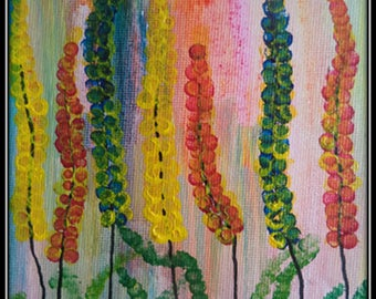 """Original Canvas Hand Paint Acrylic Painting Wall Art Home Decor Abstract """"5x7"""" Gift for her Flowers multi color mini painting yoga room art"""