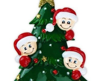 Family of 3 with Christmas Tree Hand Personalized Christmas Ornament