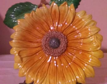 Fitz and Floyd Essentials Bountiful Blossoms Sunflower Canape Plate