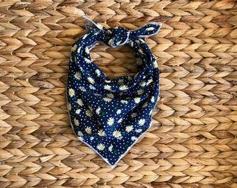Tie On Dog Bandana Mini Daisy Fabric Navy Blue