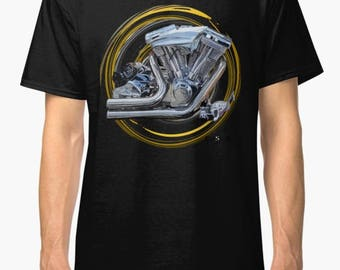 Harley Davidson PR128 inspired Motorcycle engine T Shirt INISHED Productions