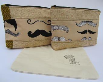 Quilted Zipper Pouch Set Moustache Makeup