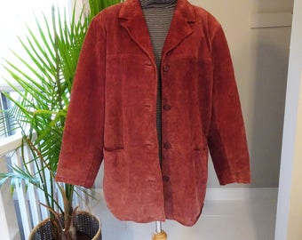 Red suede vintage 90's button up jacket
