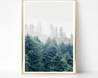 Green Forest Print, Printable Wall Art, Large Wall Art, Landscape Print, Scandinavian Art Print, Printable Poster, Foggy Forest Nature Print
