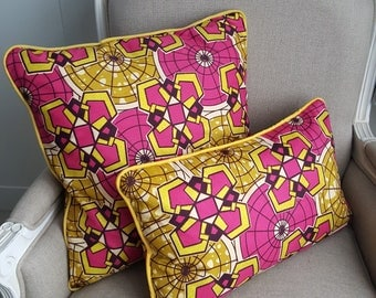 African wax print, throw cushions, Ethnic prints, African textiles, Afrocentric- Batik-Decorative cushions-bold-bright piping ATY329MAT