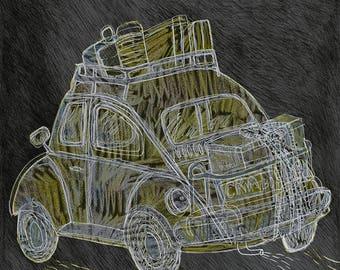 Illustrated art print, Vintage Volkswagen