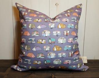 Camper Pillow, Pillows, Pillow cushion, Pillow covers, Purple Pillow, Vintage Camper, Retro, Camper, Throw Pillow, Camper Handmade
