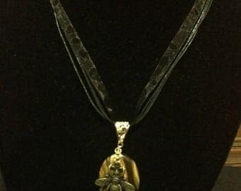Tiger Eye and Bee Pendant Necklace