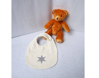 Baby towel bib reversible cotton mini snowflakes and star pattern Terry cloth