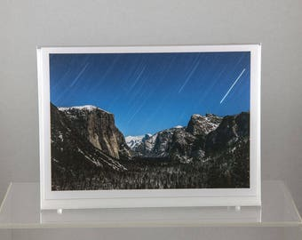 Yosemite Valley with Startrail, Yosemite National Park - Greeting Card