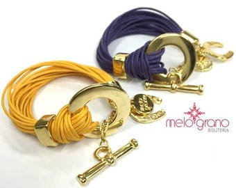 Italian Cotton Cord Bracelet With Disc and Ferrules in Gold Finish. M-233-O