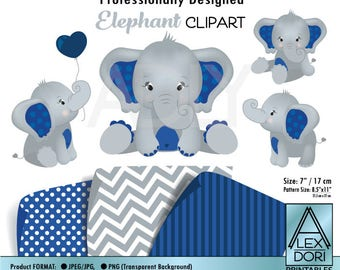 Navy Blue Elephants Clip Art, peanut clip art, balloon, elephant art nursery, decor instant download comm use