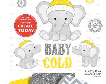 Gray Elephant Clip art, Baby Yellow grey peanut clip art, png. Winter Baby Shower,birthday,gender neutral, instant download commercial use
