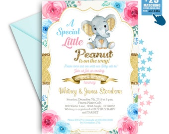 Pink Blue Gold Elephant Gender Reveal Invitation -Printable Unisex, Neutral card - Mommy to Be -Peanut Invite-Baby Shower