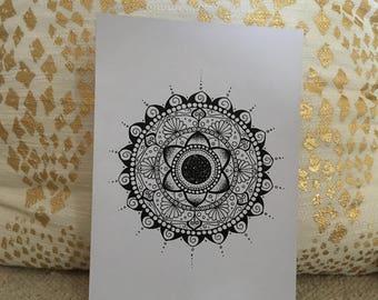 Hand-drawn black mandala on white card - 'The Emma Mandala'