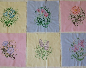 Large Floral Quilt Blocks. Machine Embroidered