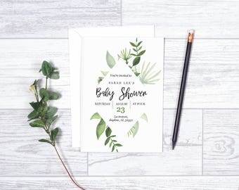 Baby Shower Invite Template-Printable Baby Shower Invitation Greenery Rustic Calligraphy Font downloadable editable Oh Baby invite
