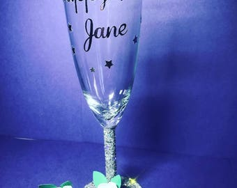 Happy Birthday Glitter Glass Hand Made
