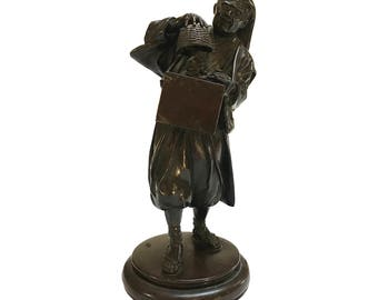 Japanese Cast Bronze Figure of a Street Entertainer, Late 19th - Early 20th Century, Stamped
