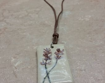 Double Lavender Pendant with Leather Cord