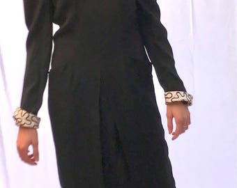 Vintage 1990s - A.J. BARI - Black Dress with White Cuffs and Collar influenced by the 1940s - Size 12