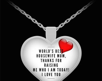 WORLD'S BEST Housewife Mum! Silver Plated Necklace
