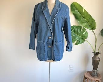 Vintage Plus Size Denim Jacket, Long Oversized Denim Jacket Blazer by Apache Size XL
