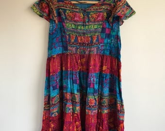 Vintage Boho Colorful Plus Size Cotton Gauze Dress