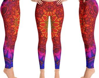 Psychedelic leggings, trippy leggings, hippy leggings, tribal leggings, Yoga Leggings, festival leggings, colorful leggings