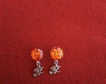 Orange glitter witch drop earrings! SHIPS IMMEDIATELY from USA!
