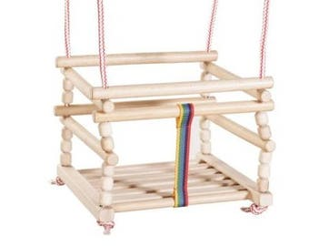 Baby swing indoor, wood baby swing, baby hanging swing made of natural wood with cushion for boys and girls
