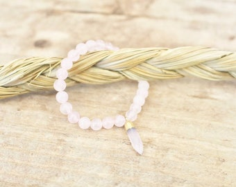 Rose Quartz + Rose Quartz Crystal Point Bracelet